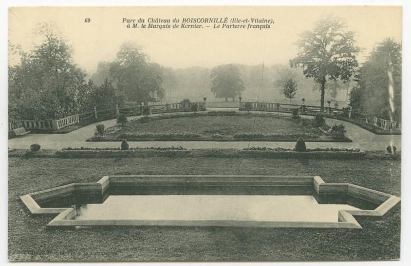 Carte postale ancienne 69. Parc du Château du Boiscornillé (Ille-et-Vilaine) à M. le Marquis de Kernier. - Le Parterre français. à