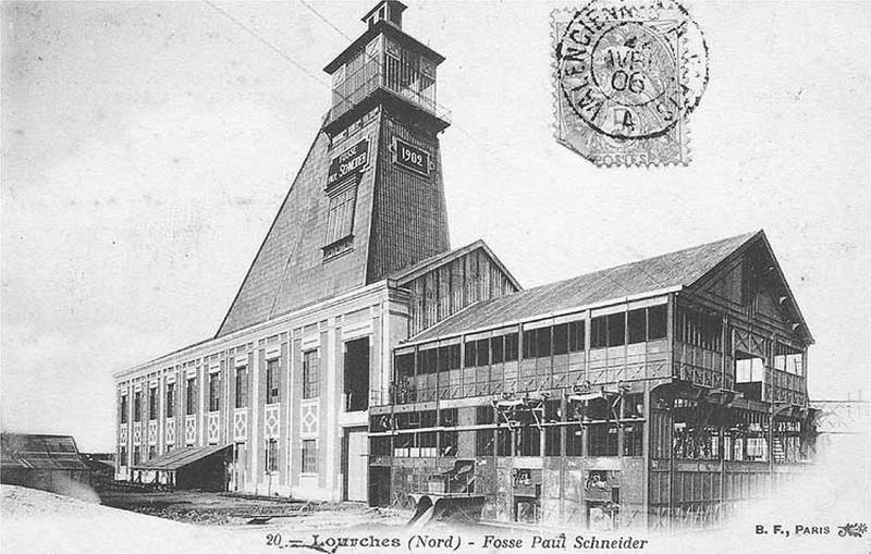 Carte postale ancienne Lourches - Fosse Schneider des mines de Douchy (02) à Lourches