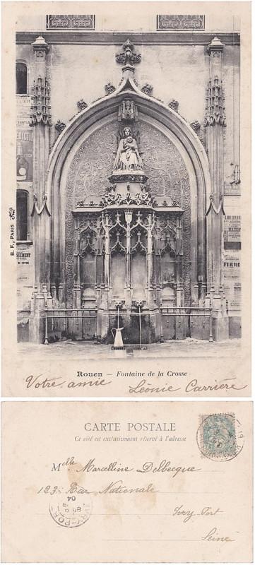 Carte postale ancienne Rouen — Fontaine de la Crosse à Rouen