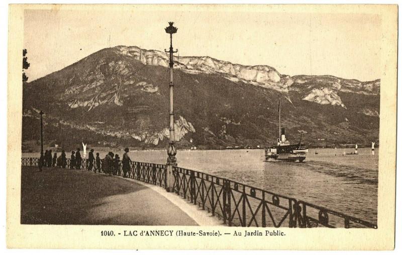 Carte postale ancienne Lac d'Annecy - Au Jardin Public à Annecy