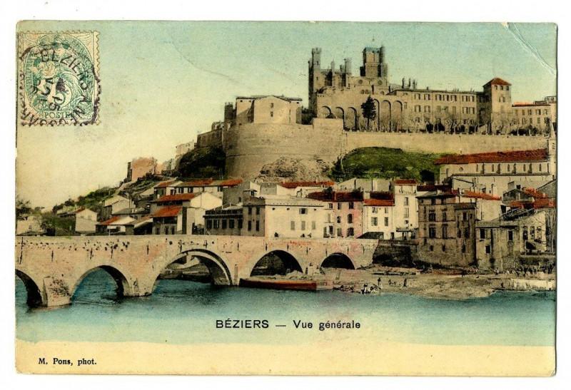 Carte postale ancienne Herault Béziers Vue générale à Béziers
