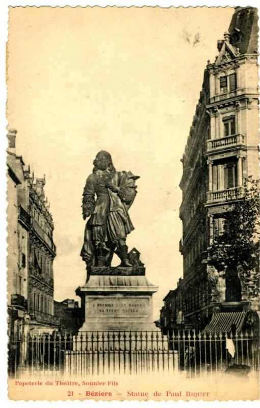 Carte postale ancienne Herault Béziers Statue de Paul Riquet à Béziers