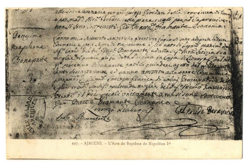 Carte postale ancienne Corse du Sud Ajaccio L'Acte de Baptème de Napoléon à Ajaccio