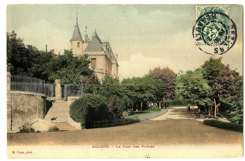 Carte postale ancienne Herault Béziers Le Parc des poètes à Béziers