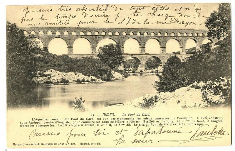 Carte postale ancienne Gard Nîmes Le Pont du Gard à Nîmes