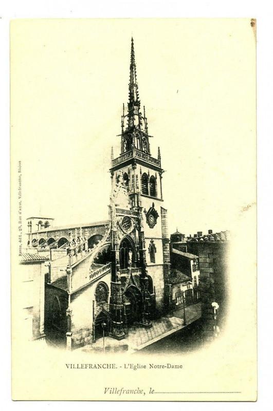 Carte postale ancienne Rhône Villefranche-sur-Saône L'Eglise Notre-Dame à Villefranche-sur-Saône