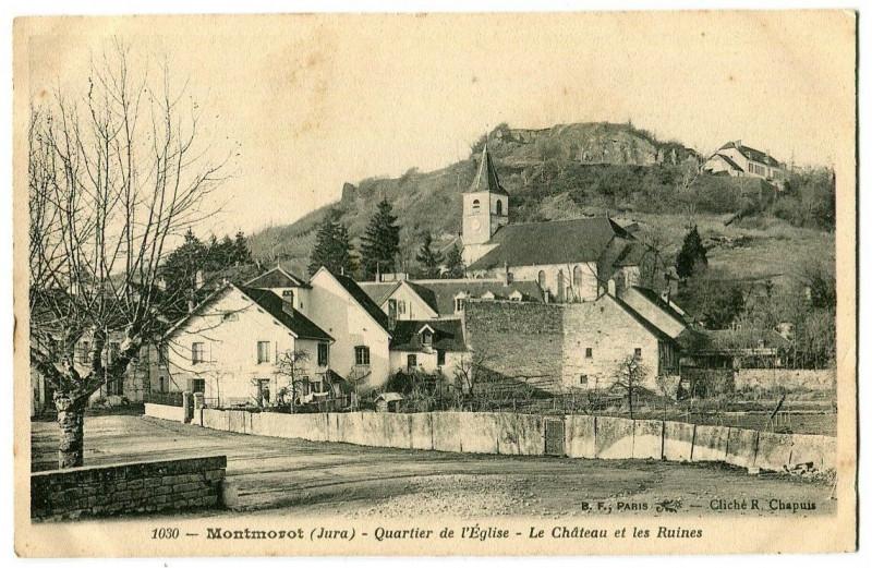 Carte postale ancienne Jura Montmorot Quartier de l'Eglise Château et Ruines à Montmorot