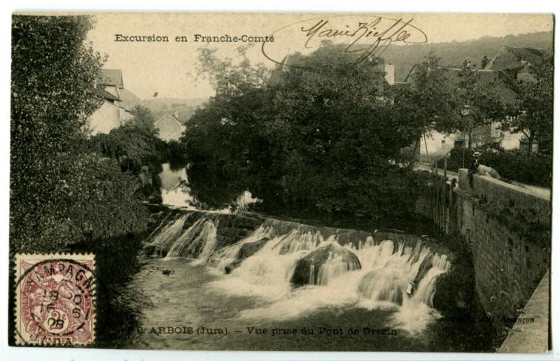 Carte postale ancienne Jura Arbois Vue prise du Pont de Grézin à Arbois