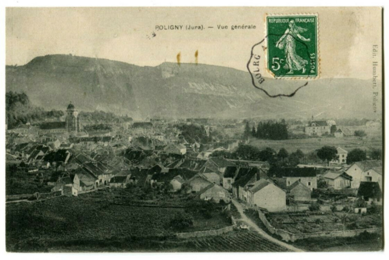 Carte postale ancienne Jura Poligny Vue générale à Poligny