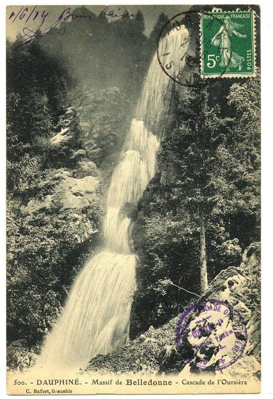 Carte postale ancienne Isère Belledonne Cascade de l'Oursière à