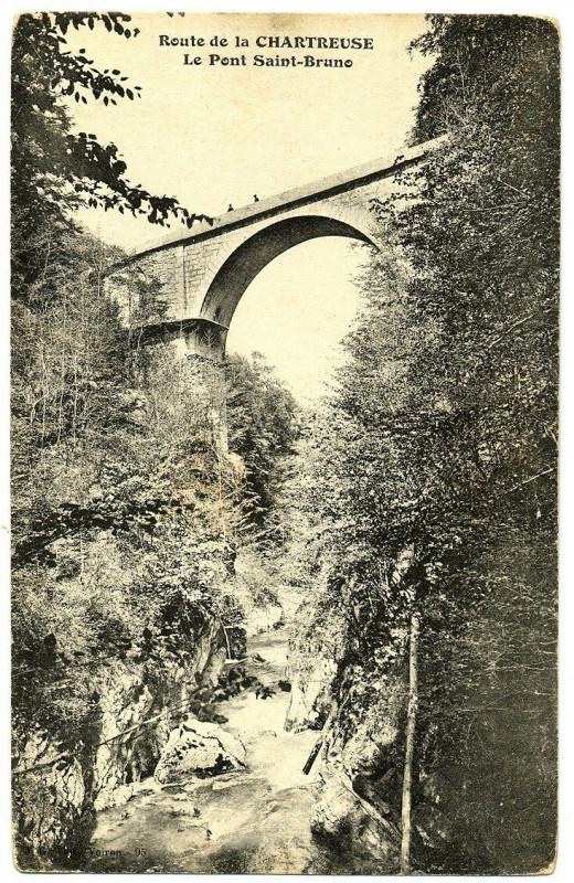 Carte postale ancienne Isère Chartreuse Route de la Chartreuse Pont Saint-Bruno à