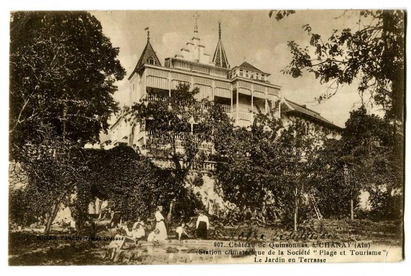 Carte postale ancienne Ain Chanay Château de Quinsonnas Le jardin en Terrasse à Chanay