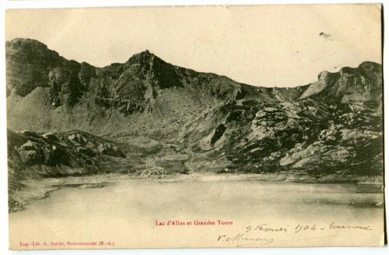 Carte postale ancienne Alpes-de-Haute-Provence Lac d'Allos et Grandes Tours à Allos
