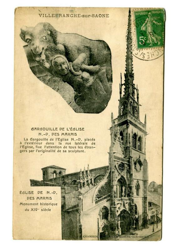 Carte postale ancienne Rhône Villefranche-sur-Saône Eglise Notre-Dame des Marais Gargouille à Villefranche-sur-Saône