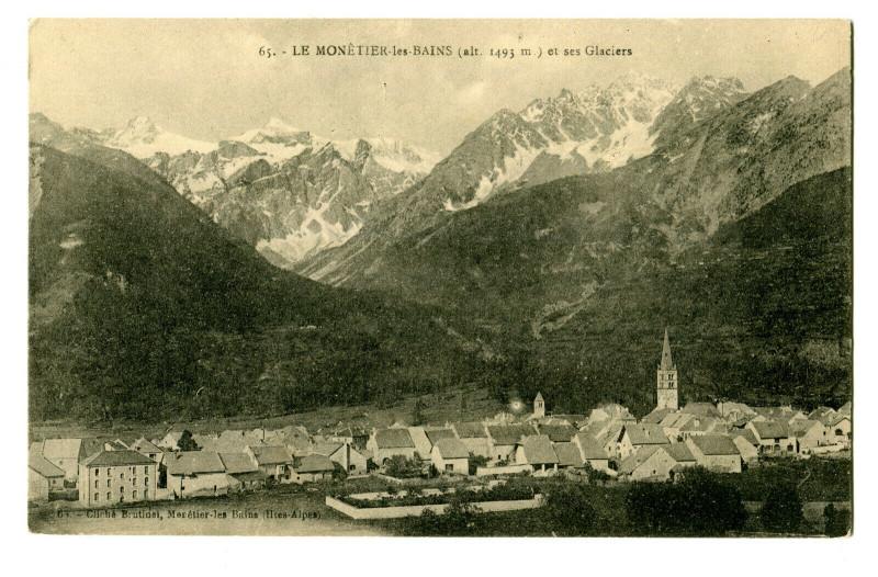 Carte postale ancienne Hautes-Alpes Le Monêtier-les-Bains et ses Glaciers au Monêtier-les-Bains