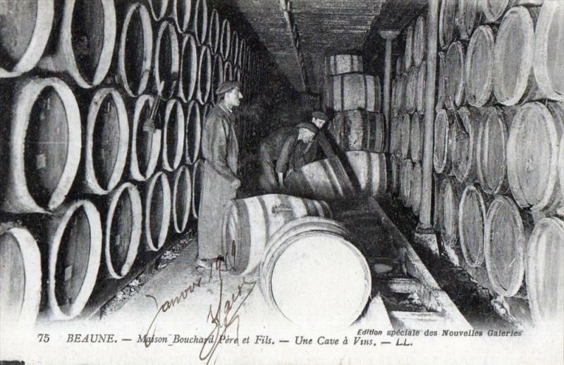 Carte postale ancienne Beaune -maison Bouchard - Une cave à vins- (cpa commerce de vin à Beaune