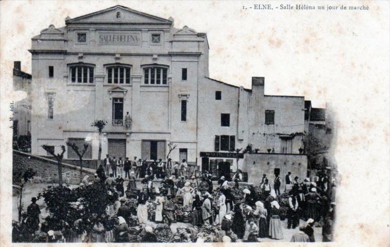Carte postale ancienne Elne Salle Helena Un Jour De Marche (dos non divisé)  (BELLE Animation à Elne
