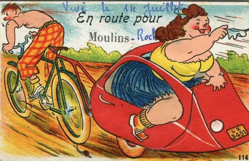 Carte postale ancienne Moulins Tres Jolie Cpa A Systeme De Depliant En Route Pour Moulins à Moulins