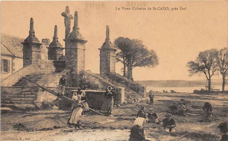 Carte postale ancienne Le Vieux Moulin De Saint Cado Pres Etel (animée à Étel