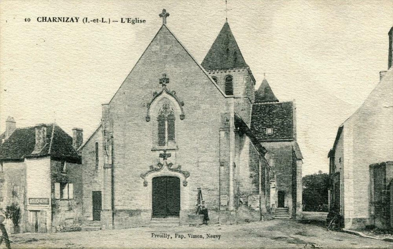 Carte postale ancienne Charnizay L'Eglise (pas courante à Charnizay