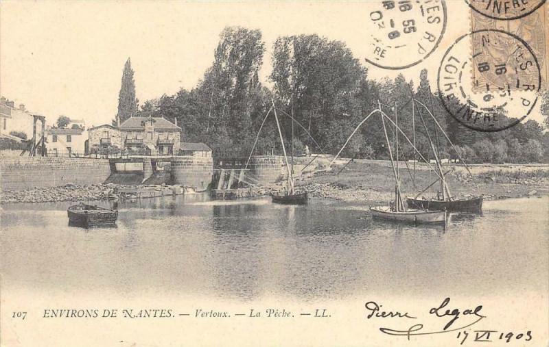 Carte postale ancienne Environs De Nantes Vertoux La Peche (dos non divisé) à Nantes