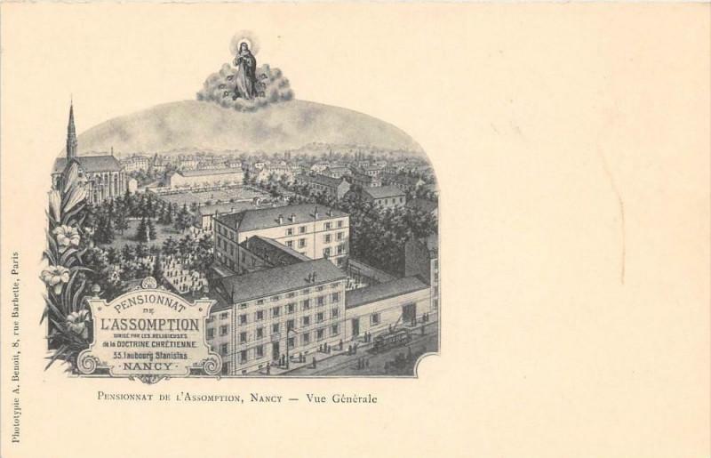 Carte postale ancienne Nancy Pensionnat De L'Assomption Vue Generale (dos non divisé) à Nancy