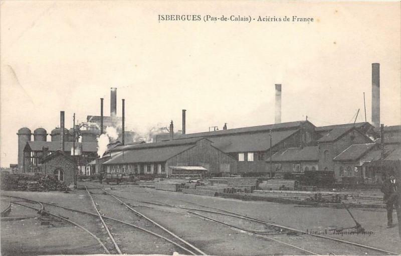 Carte postale ancienne Isbergues Acieries De France à Isbergues
