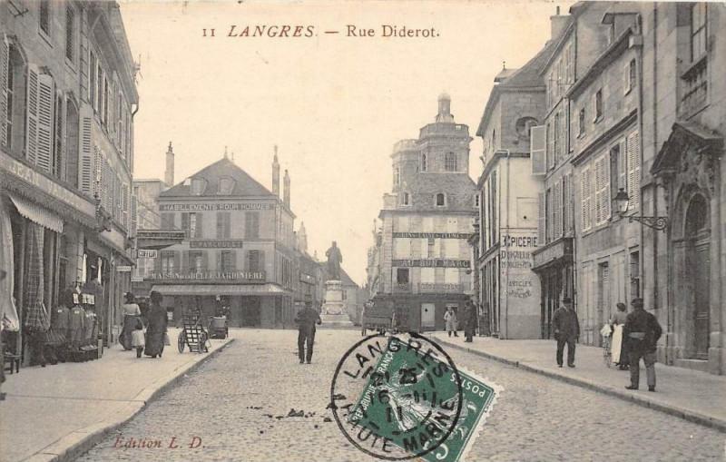Carte postale ancienne Langres Rue Diderot (cliché pas courant à Langres
