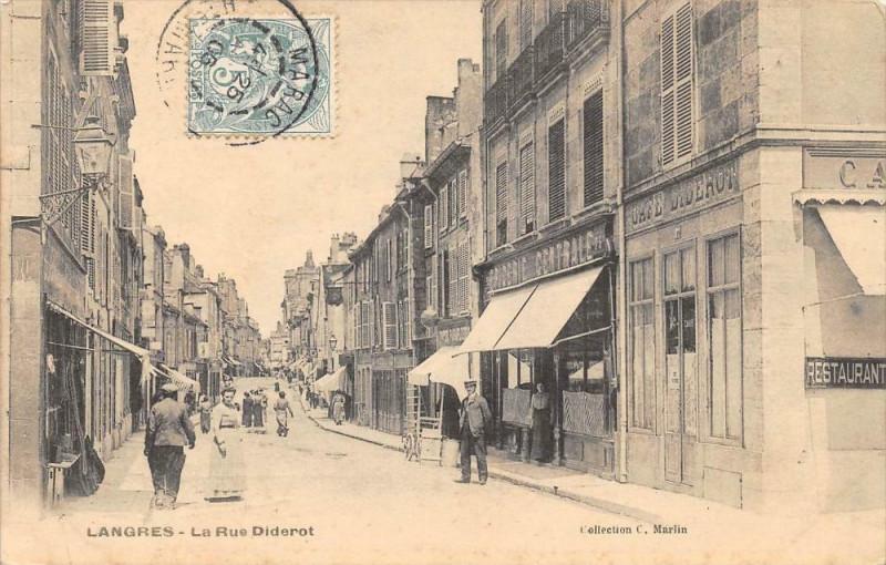 Carte postale ancienne Langres La Rue Diderot à Langres
