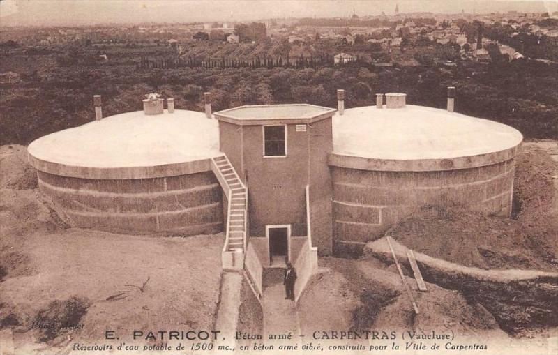 Carte postale ancienne Carpentras Reservoirs D´EAU Potable E.patricot Beton Arme à Carpentras