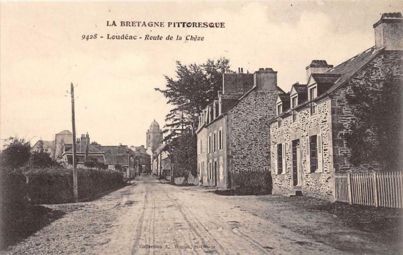 Carte postale ancienne Loudeac Route De La Cheze (cpa pas courante à Loudéac