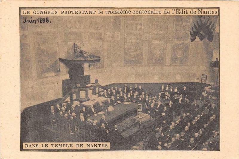 Carte postale ancienne Dans Le Temple De Nantes Le Congres Protestant Le 3e Centenaire Edit De N à Nantes
