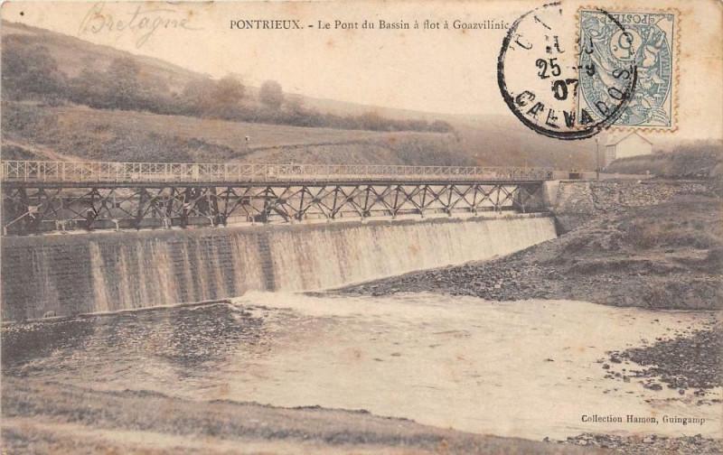 Carte postale ancienne Pontrieux Le Pont Du Bassin A Flot A Goazvilinic à Pontrieux