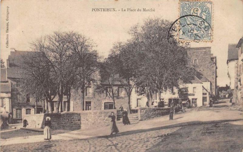 Carte postale ancienne Pontrieux La Place Du Marche (cpa pas courante à Pontrieux