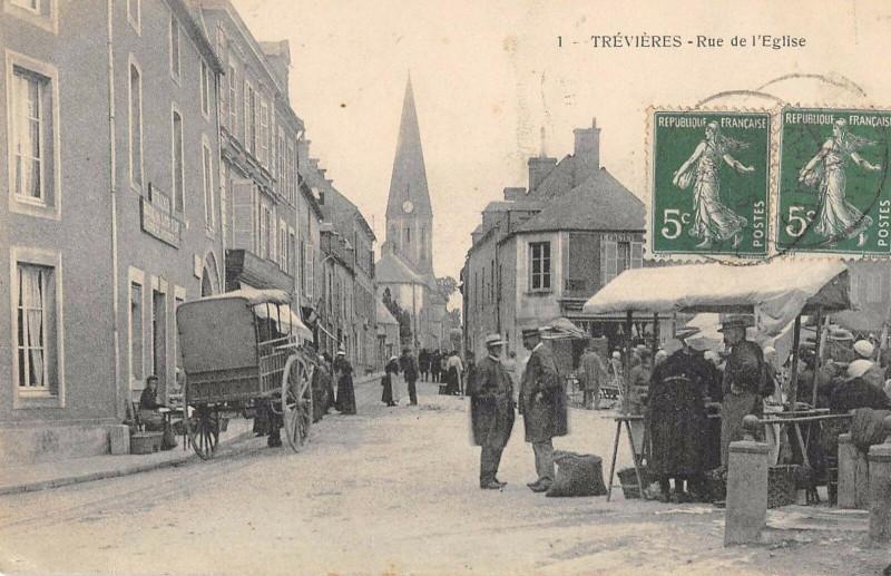 Carte postale ancienne Trevieres Rue De L'Eglise à Trévières
