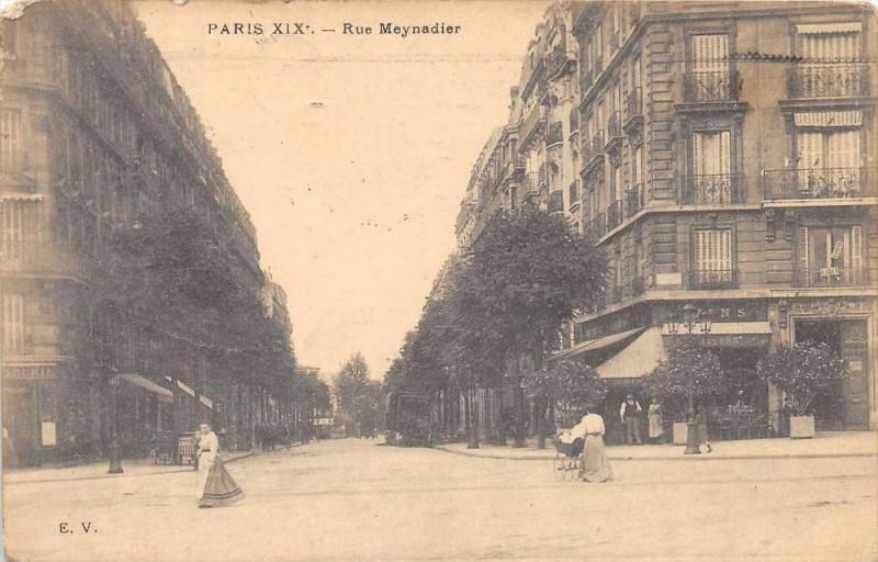 Carte postale ancienne Rue Meynadier à Paris 19e