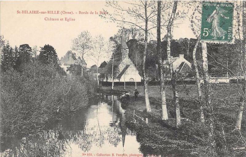 Carte postale ancienne Saint Hilaire Sur Rille Bords De La Rille Chateau Et Eglise à Ri