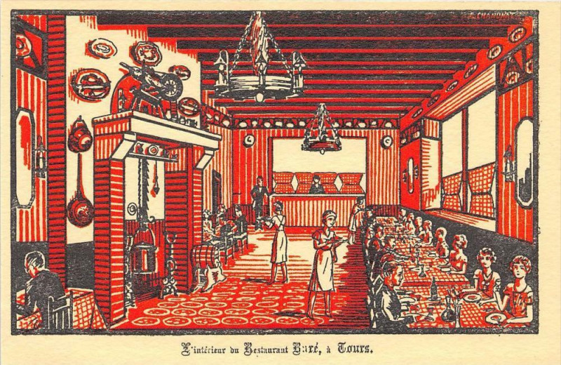Carte postale ancienne Tours Interieur Du Restaurant Bare à Tours