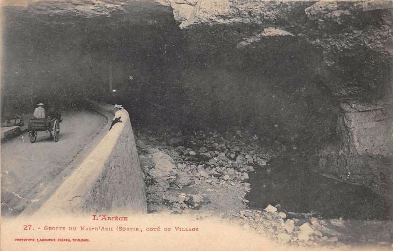 Carte postale ancienne Grotte Du Mas D'Azil Sortie Cote Du Village à Sor