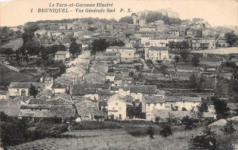 Carte postale ancienne Bruniquel Vue Generale Sud à Bruniquel