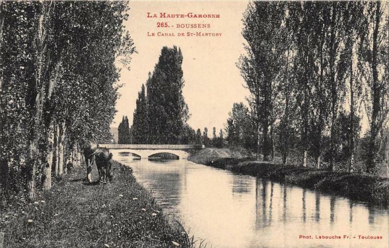 Carte postale ancienne Boussens Le Canal De St Martory à Boussens