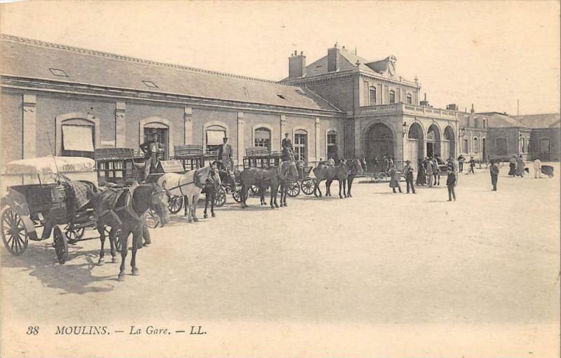 Carte postale ancienne Moulins La Gare à Moulins