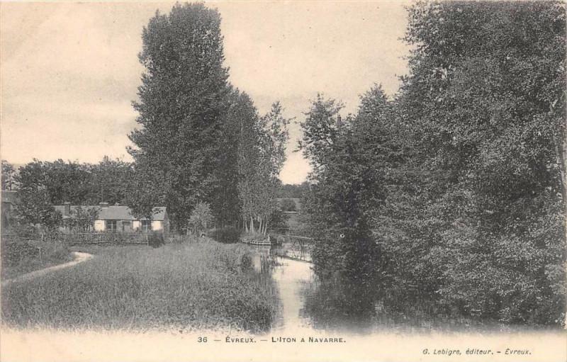 Carte postale ancienne Evreux L'Iton A Navarre (dos non divisé) à Évreux