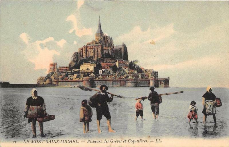 Carte postale ancienne Le Mont Saint Michel Pecheurs De Greves Et De Coquetieres au Mont-Saint-Michel