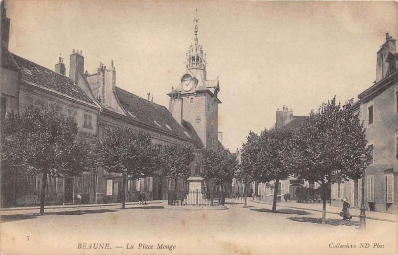 Carte postale ancienne Beaune La Place Monge (dos non divisé) à Beaune