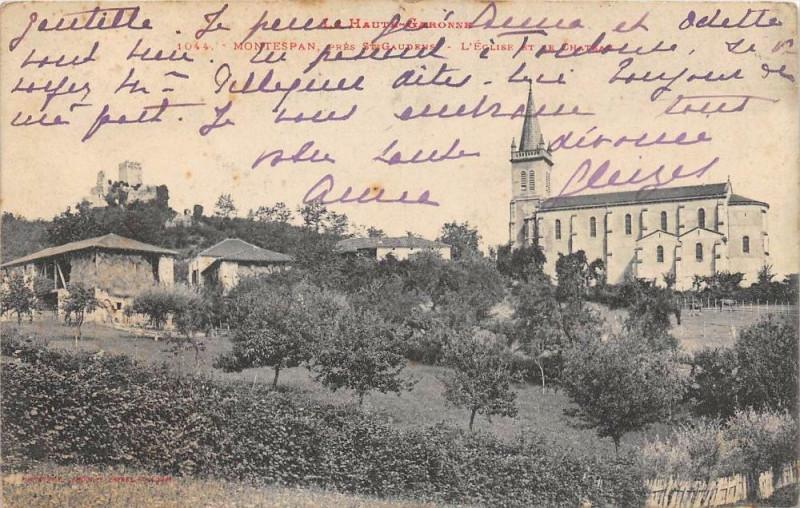 Carte postale ancienne Montespan Eglise Chateau à Montespan