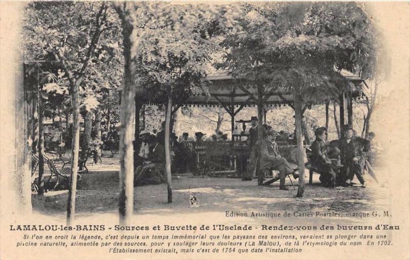 Carte postale ancienne Lamalou Les Bains Sources Et Buvette De L'Usclade Rendez Vous Des Buveurs à Lamalou-les-Bains