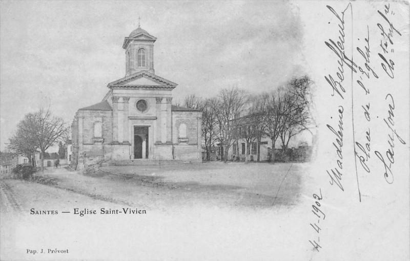 Carte postale ancienne Saintes Eglise St Vivien (dos non divisé) à Saintes