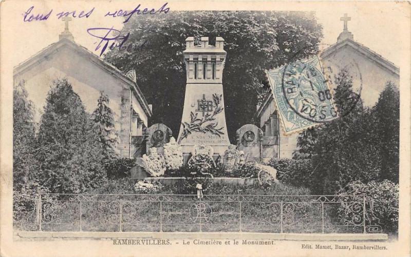 Carte postale ancienne Rambervillers Le Cimetiere Et Monument à Rambervillers