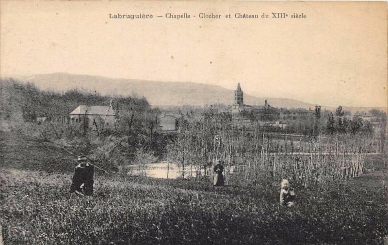 Carte postale ancienne Labruguiere Clocher Et Chateau à Labruguière
